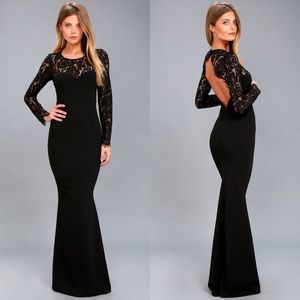 Lulus The Whenever You Call Black Lace Maxi Dress